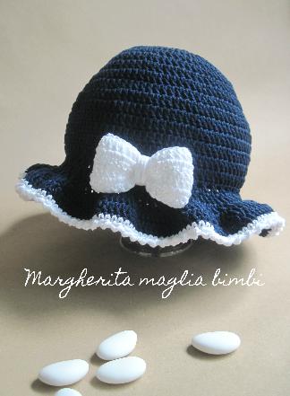 Cappello/cappellino bimba - balza e fiocco - cotone blu e bianco - uncinetto - Battesimo