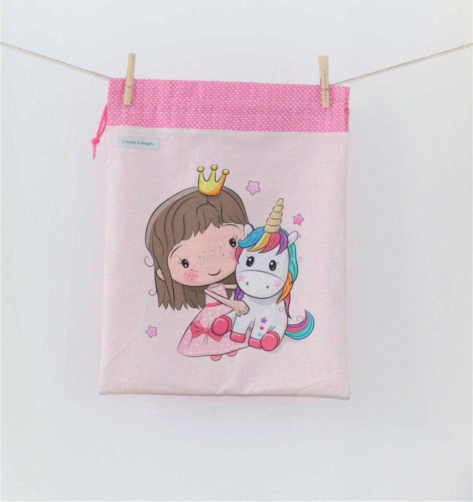 Sacca porta biancheria o per il cambio -principessa unicorno
