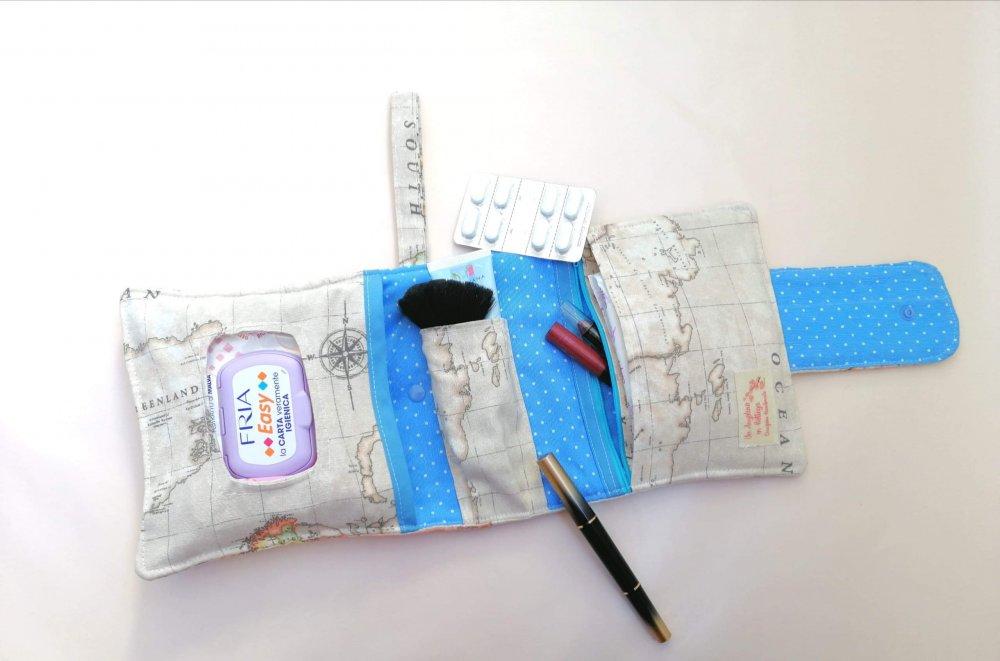 Beauty da borsetta per igiene intima e trucco, bustina portatrucco, pochette in tessuto con cerniera. Cosmetici, Kit e set da viaggio