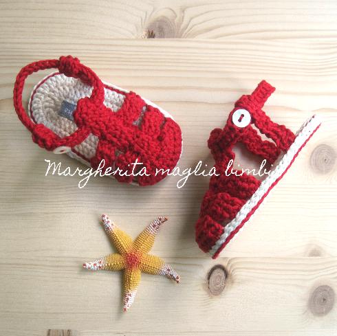 Sandali ragnetto bambino - puro cotone rosso - fatti a mano - uncinetto - sandaletti bimbo