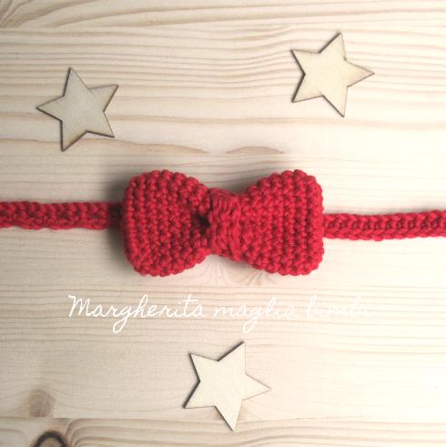 Papillon/farfallino bambino - puro cotone rosso - fatto a mano - uncinetto - moda bimbi
