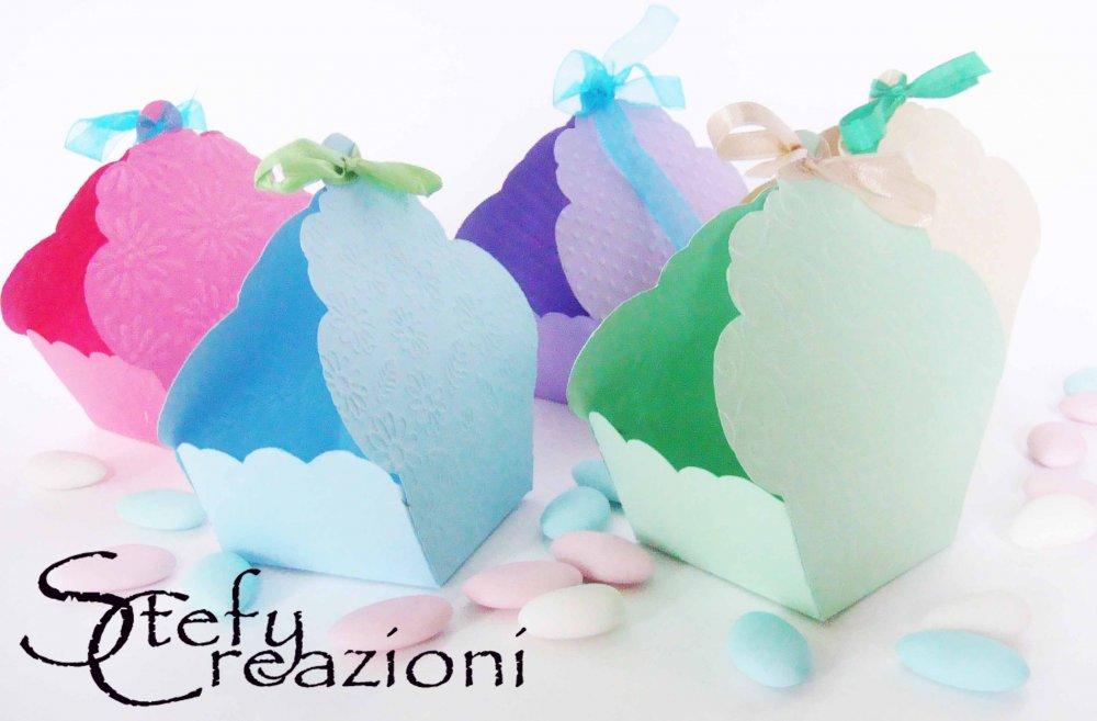Scatoline Bomboniera Porta Cupcake (Lotto 5 pezzi)