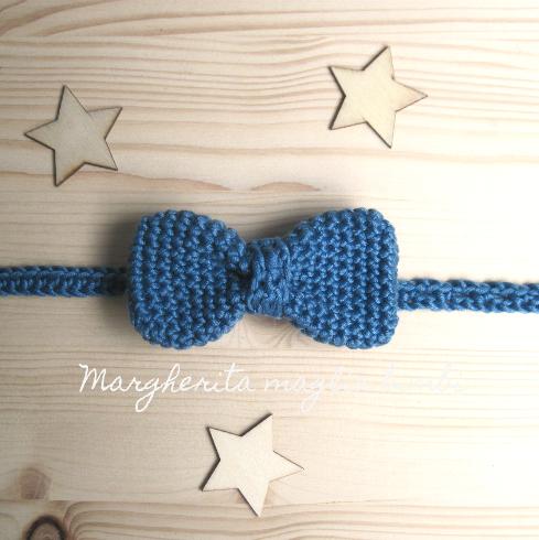 Papillon/farfallino bambino - Battesimo - cotone blu jeans scuro - fatto a mano - uncinetto