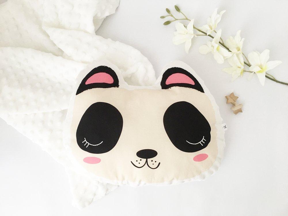 Cuscino panda  con occhi fluorescenti e tessuto minky, cuscino in cotone biologico, decorazione cameretta, kids room decor