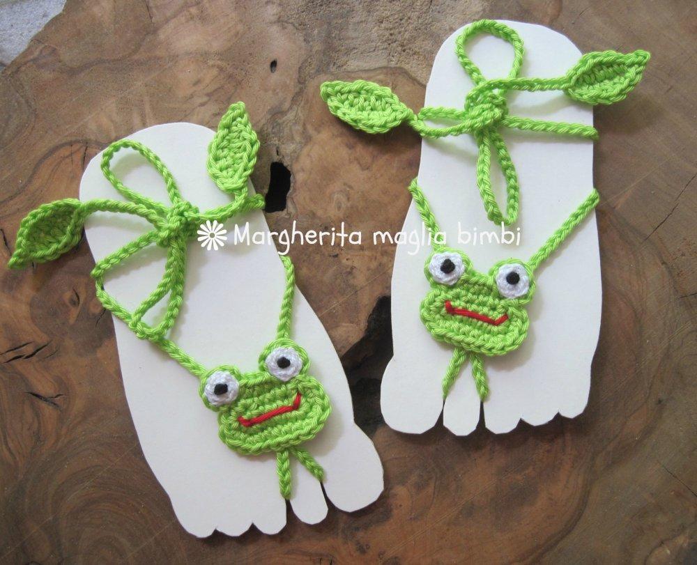 Sandali piedi nudi neonato/bambino - rana ranocchia - decorazione piede - kawaii