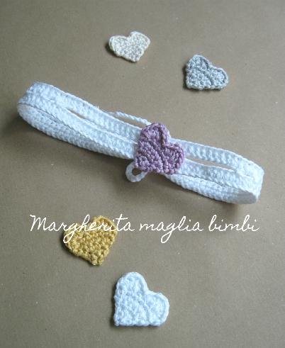 Fascetta bianca neonata con cuore colorato - fascia bambina - cotone - fatto a mano