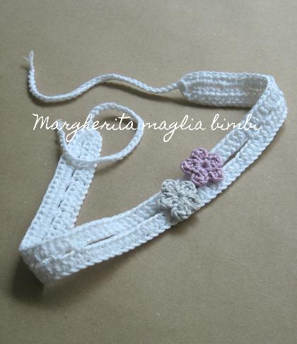 Fascetta bianca neonata con fiorellini colorati - fascia bambina - cotone - fatto a mano