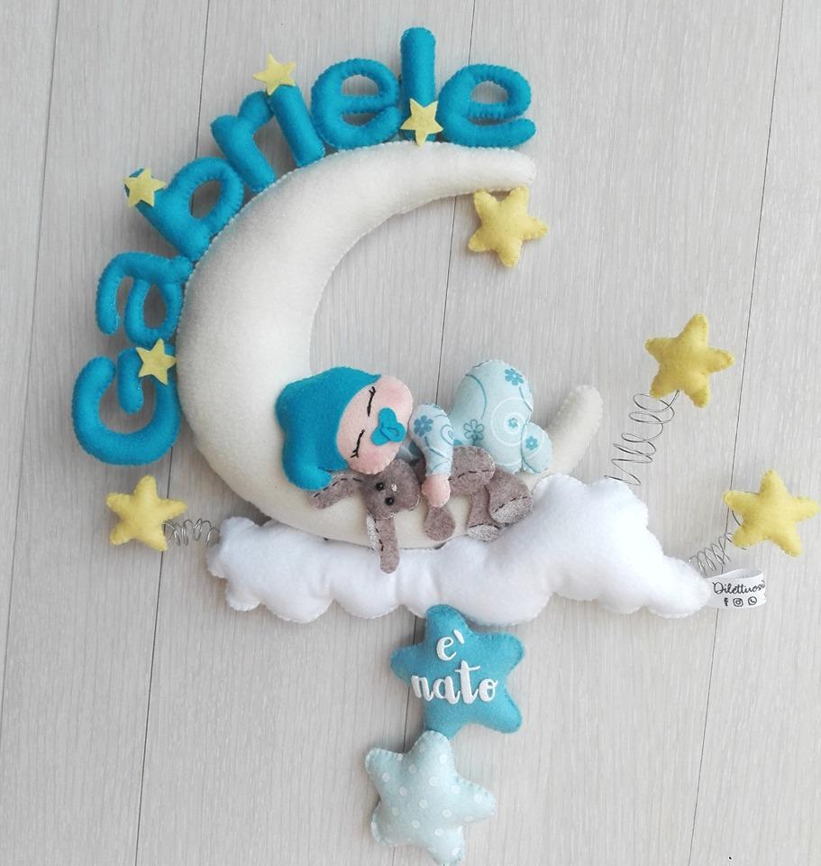 Fiocco nascita Little Prince con coniglietto in pannolenci