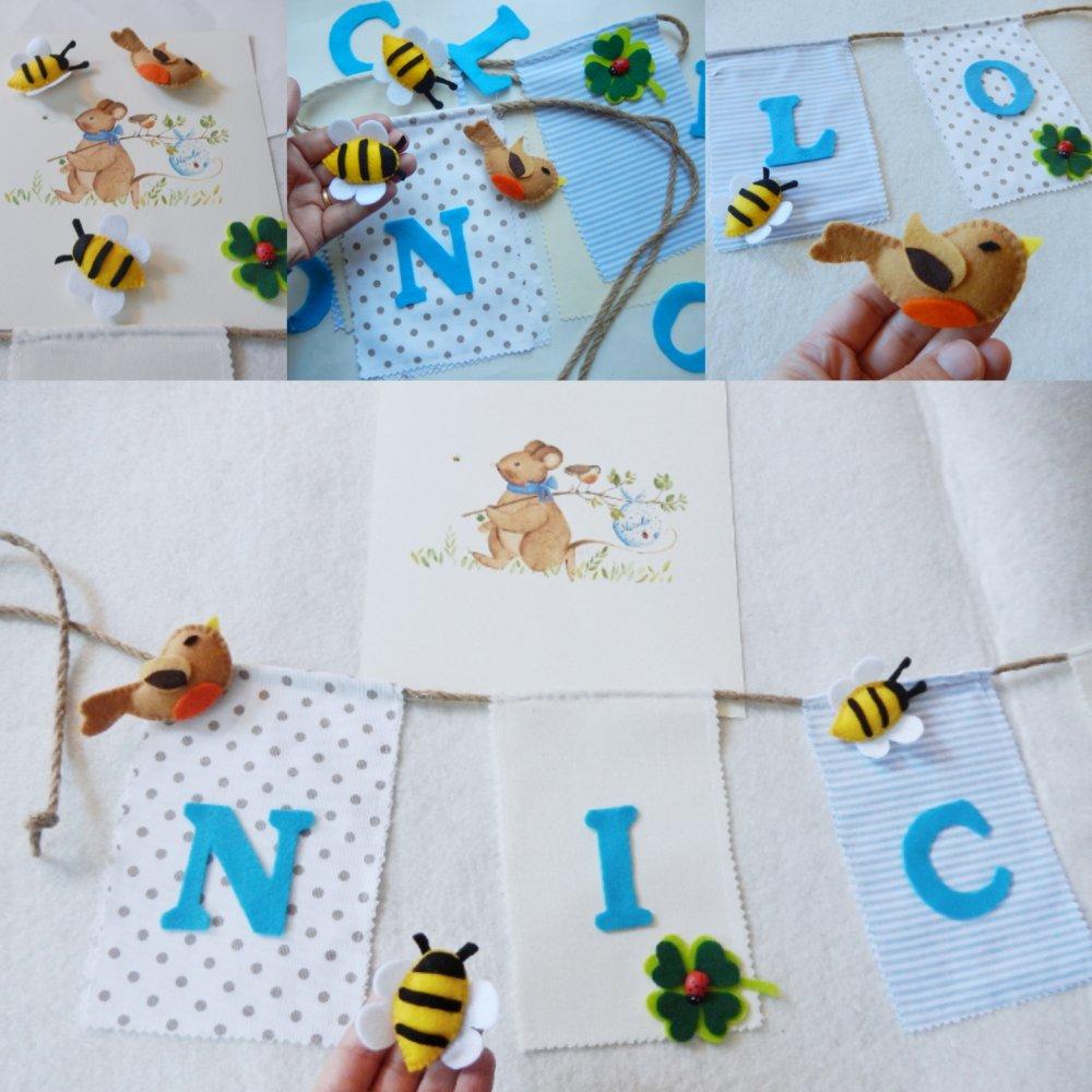 Banner con nome per cameretta a tema bosco con ape, uccellino e coccinella
