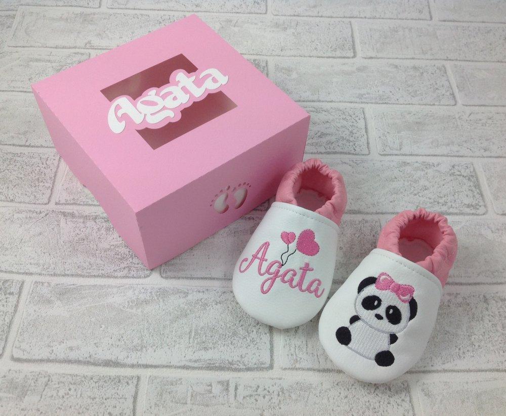 Scarpine ecopelle Panda personalizzate con nome - Suol antiscivolo!
