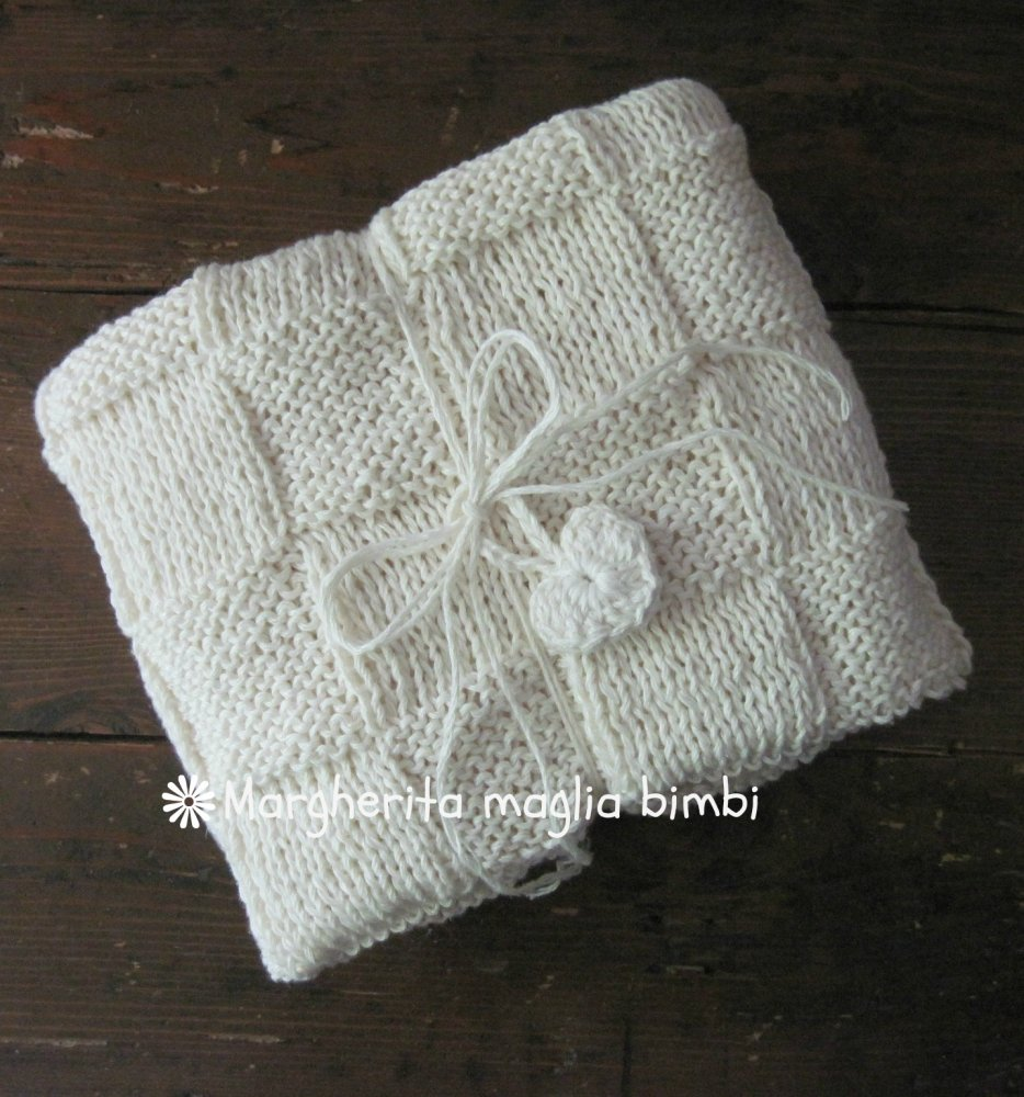 Coperta/copertina neonato/culla/Battesimo - lino e cotone - fatta a mano