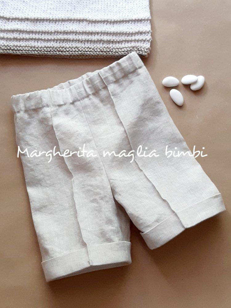 Pantaloni puro lino bambino/neonato - Battesimo - pantaloncini fatti a mano  - colore ecru