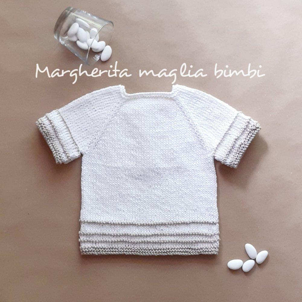 Maglia/maglietta/golfino/golf neonato/bambino lino e cotone fatto a maglia - Battesimo