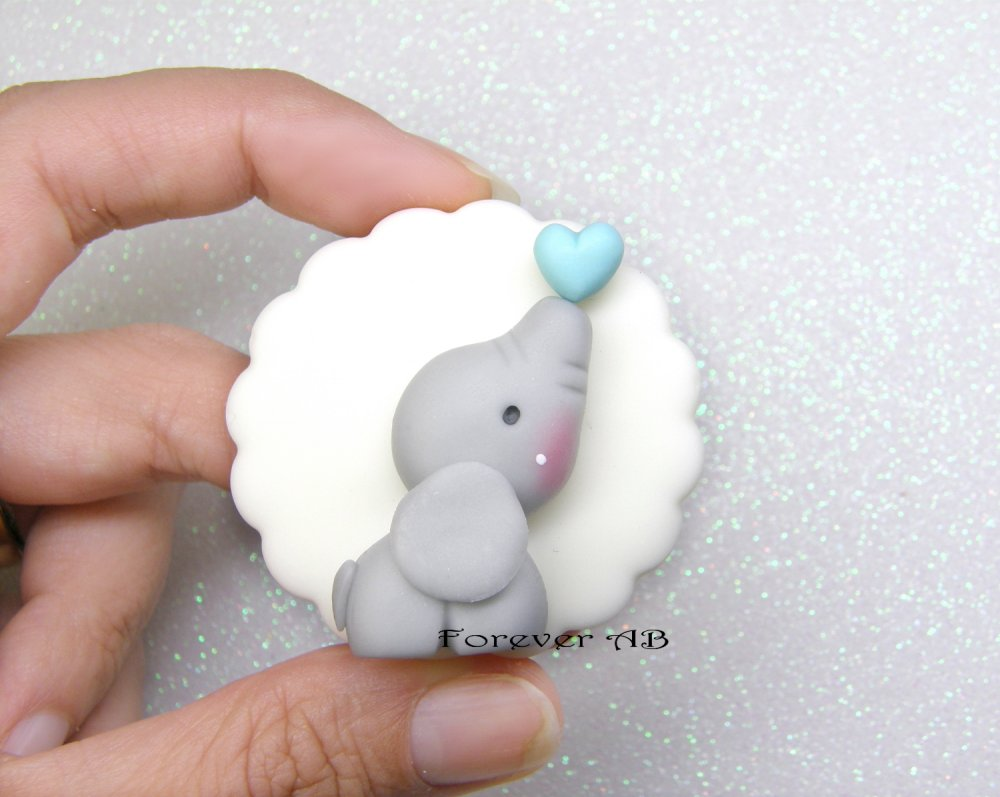 Calamita Elefante elefantino azzurro nascita battesimo compleanno bomboniere bomboniera