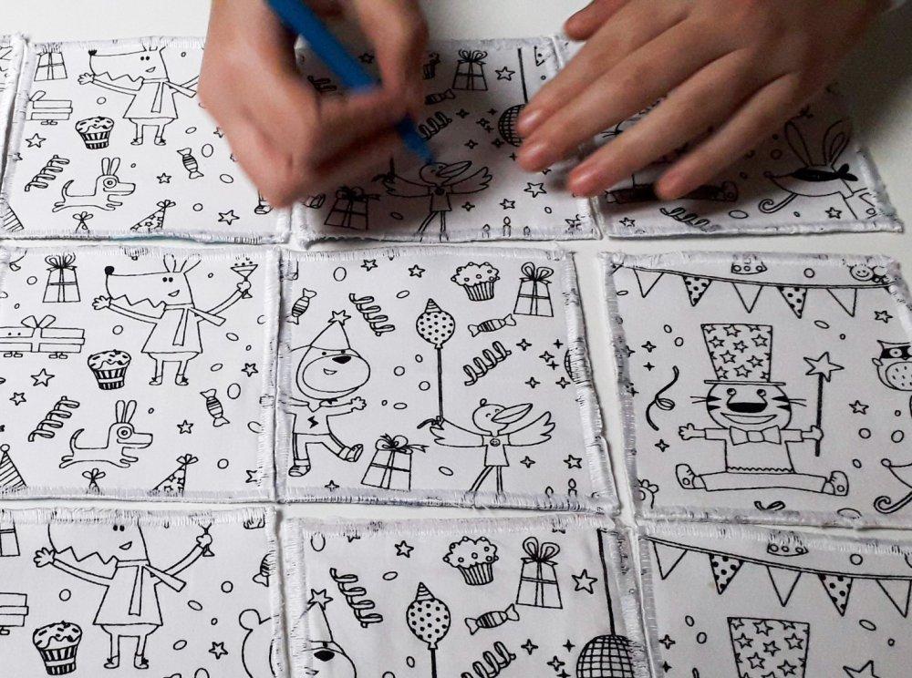 Set tovaglietta americana da colorare, puzzle e memory