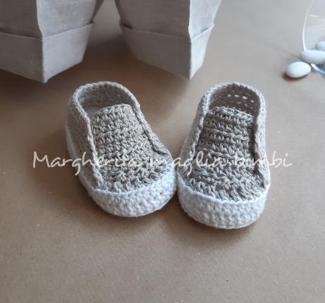 Scarpine Battesimo in lino e cotone fatte a mano all'uncinetto - neonato/bambino