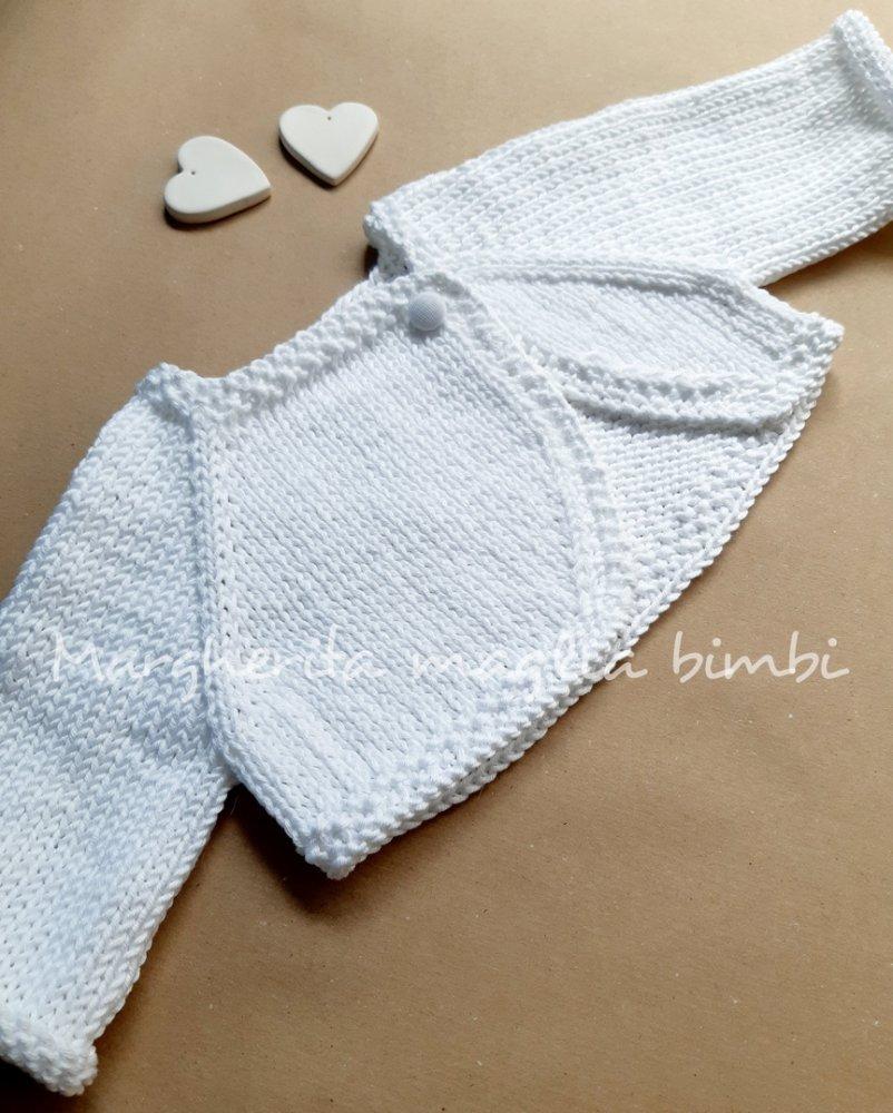 Coprispalle neonata/bambina - scaldacuore, golfino, bolero - Battesimo - fatto a maglia -