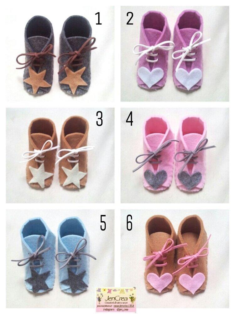scarpette porta fortuna  baby con lacci