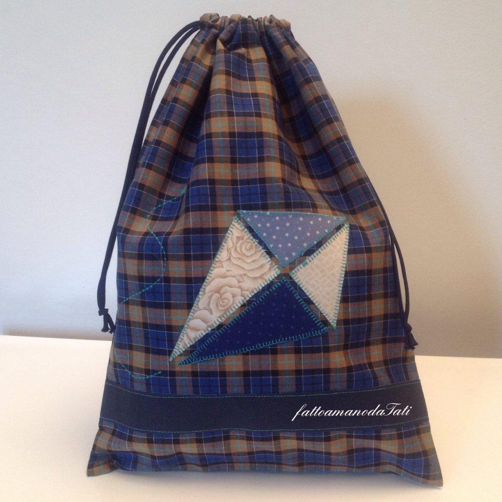 Sacchetto asilo in cotone scozzese  con acquilone applicato