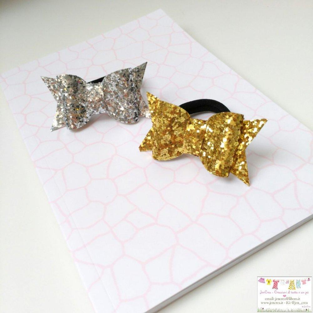 1 Fiocco capelli glitter oro o argento