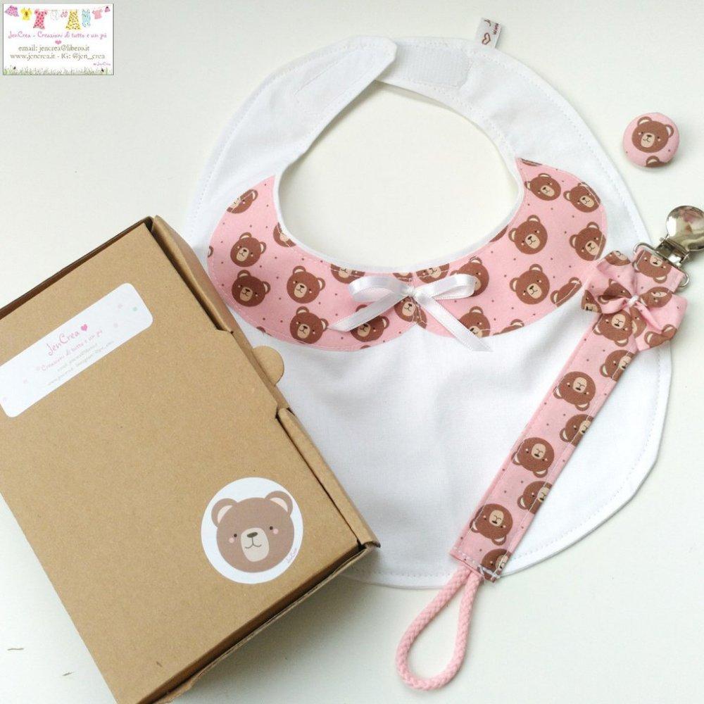 1 set regalo colletto orsetto colore rosa baby