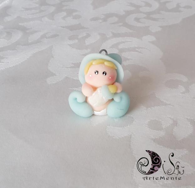 Bomboniera battesimo ciondolo folletto bebè per bimbo