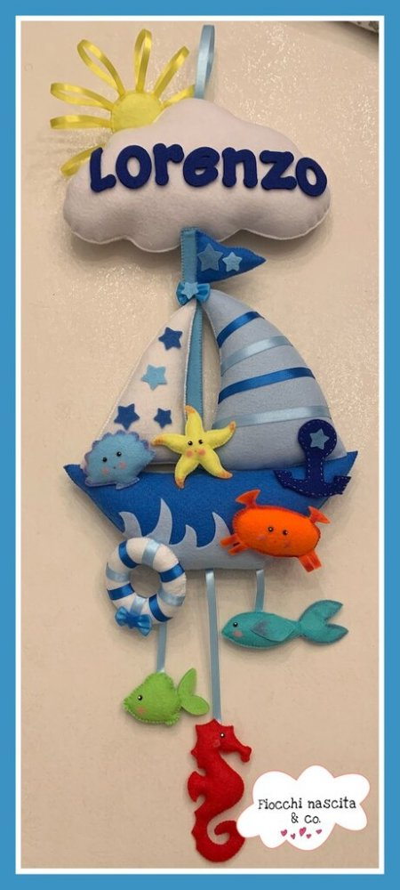 Fiocco nascita barchetta con animali marini