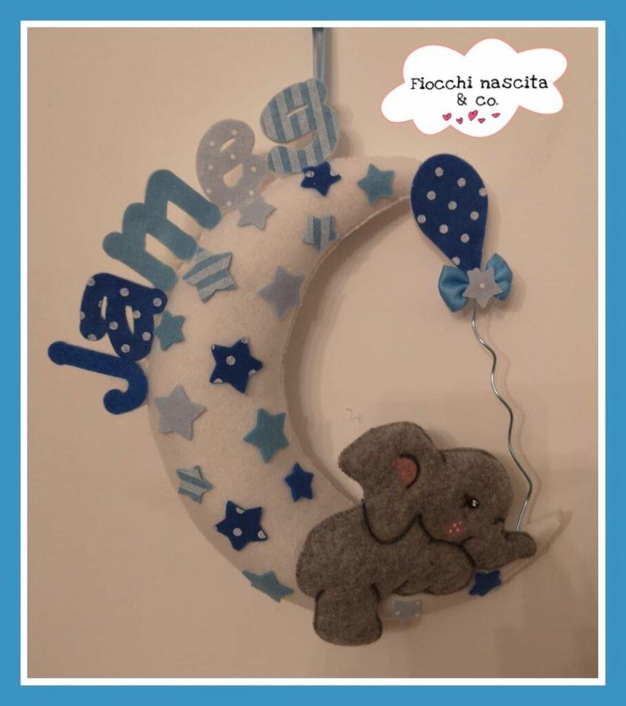 Fiocco nascita elefantino su luna con palloncino