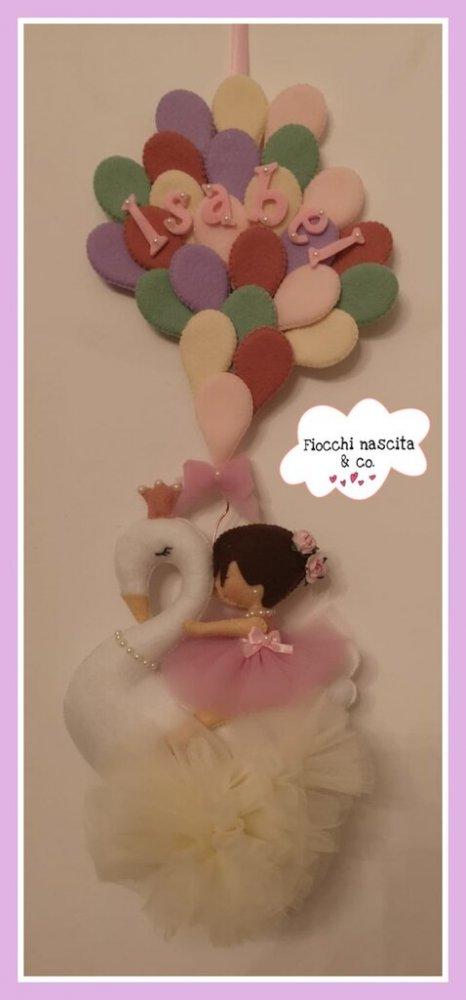 Fiocco nascita bambina su cigno con palloncini