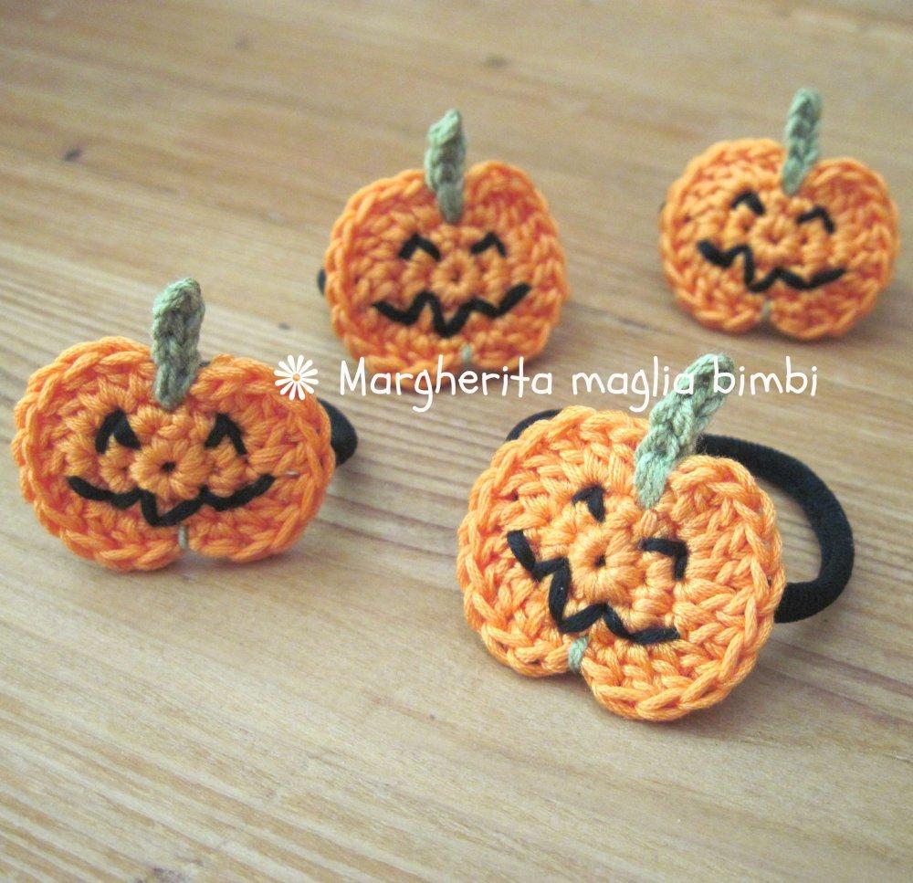 Elastico zucca Halloween - braccialetto Halloween - fatto a mano - uncinetto