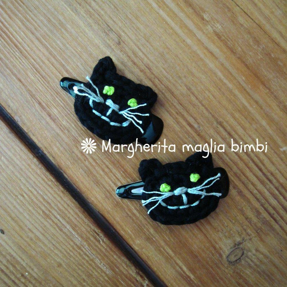 Fermaglio  gatto nero - fermaglio capelli Halloween - fatto a mano - uncinetto