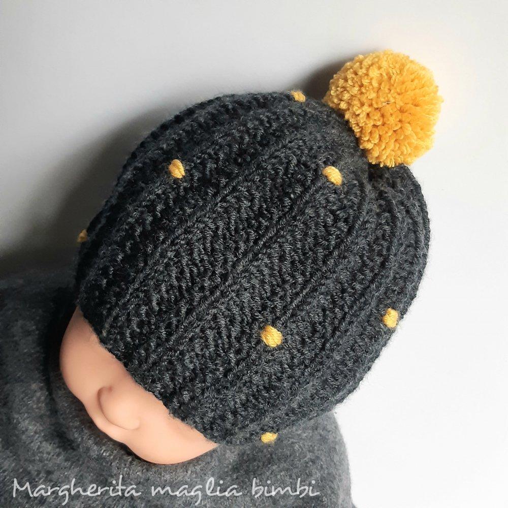 Cappello  mamma e figlio - berretto neonato - mamma e bimba - grigio/senape - fatto a mano