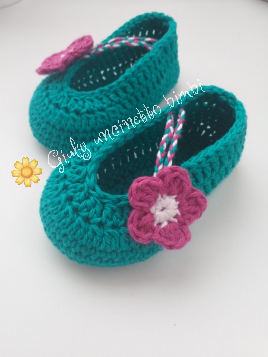 Scarpine ballerina neonata * cotone uncinetto * portafortuna neonato scarpette
