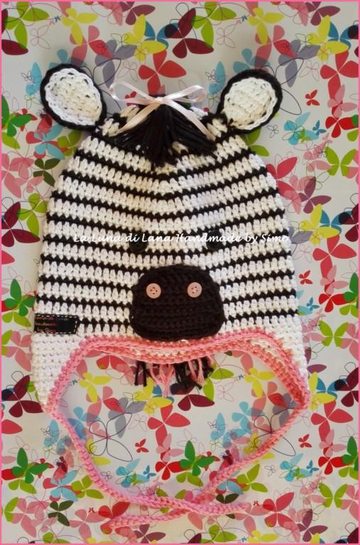 Cappellino a uncinetto a forma di Zebra per bambino o bambina