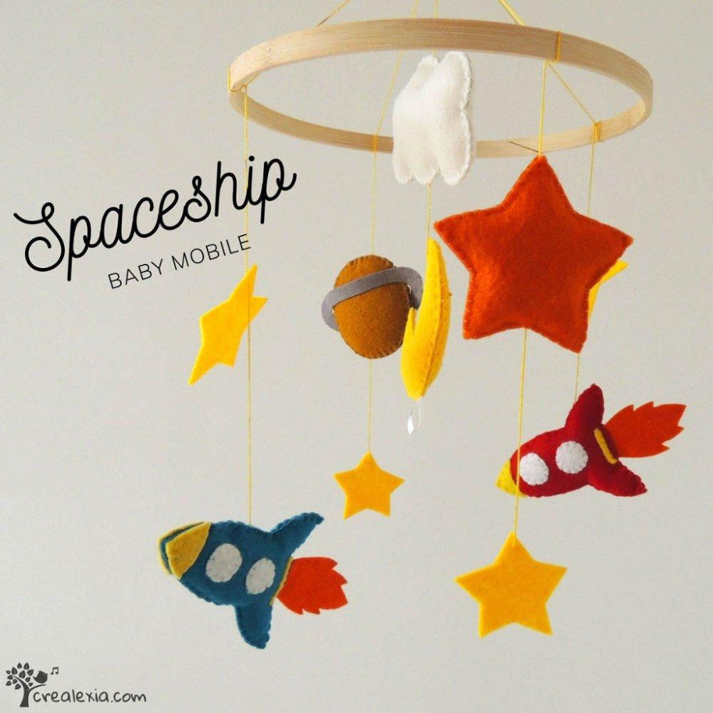 Giostrina per culla neonato con astronave, razzo, pianeta, giostrina per lettino bebé