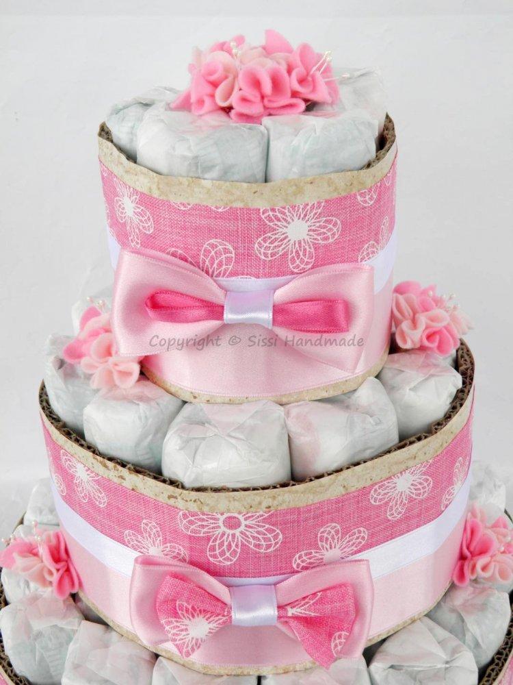 Torta pannolini BAMBINA + banner nome