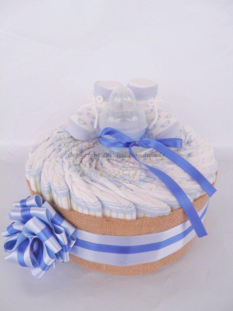 Torta pannolini BAMBINO con biberon e scarpine
