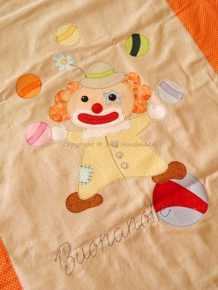 Coperta neonato in cotone con pagliaccio