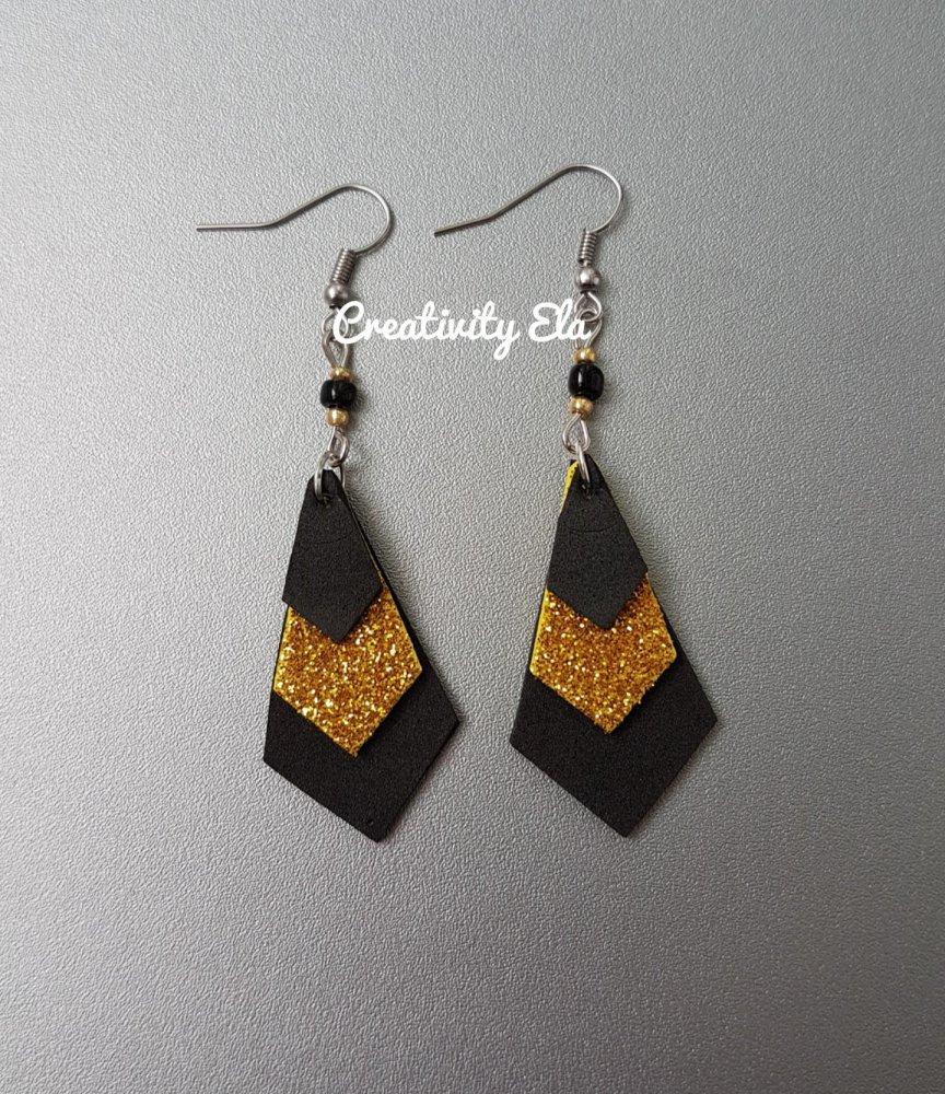 Orecchini Pendenti Geometrici Nero e Oro Glitter