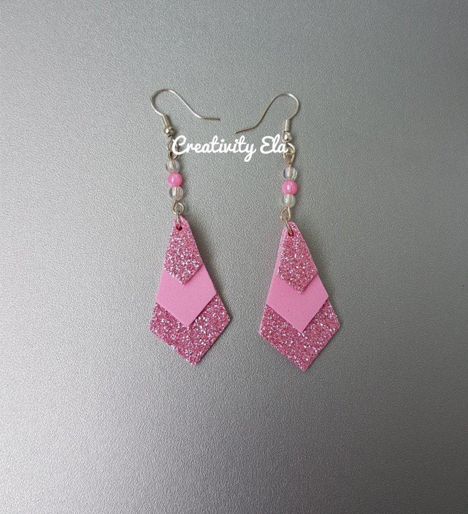 Orecchini Geometrici Rosa Glitter