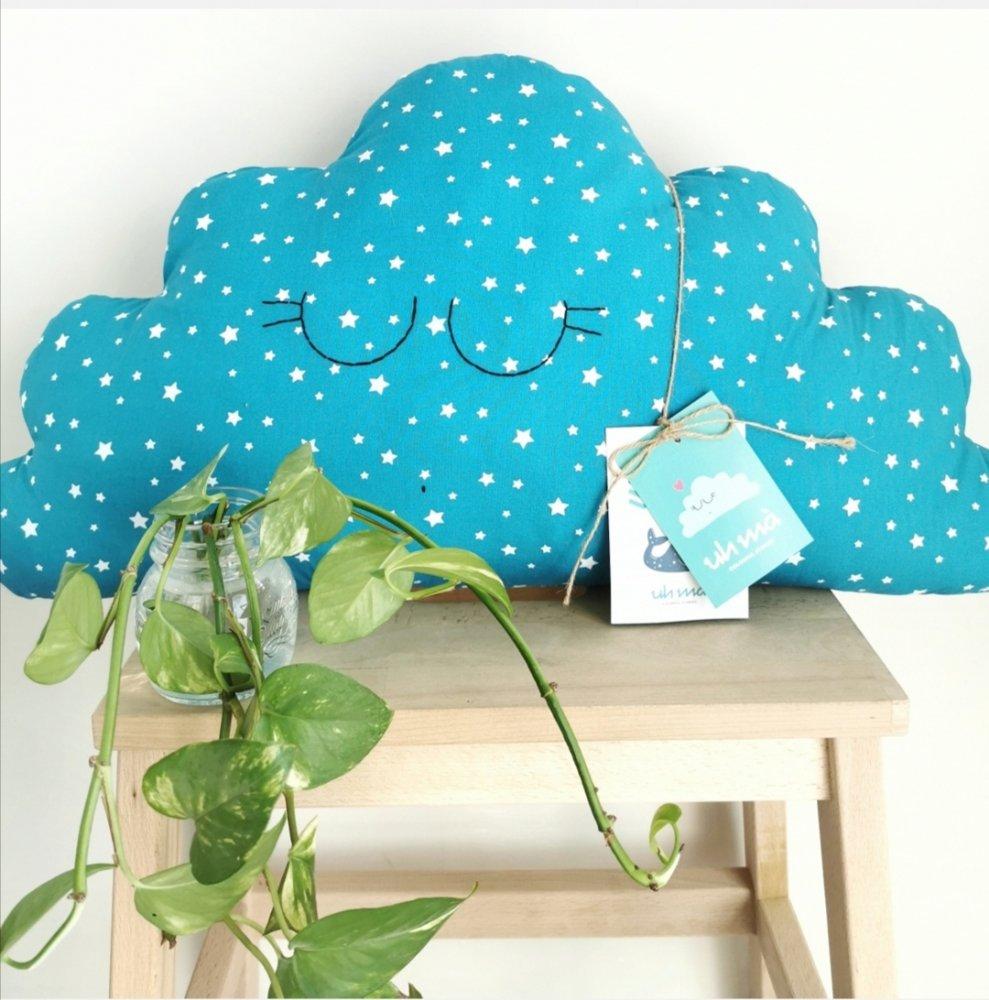 Cuscino nuvola, pupazzo in tessuto a forma di nuvola (grande)