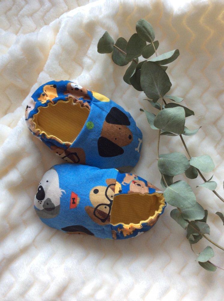 Ciabattine stoffa neonato 3/6 mesi