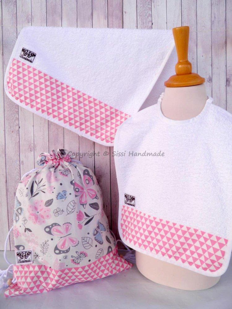 SET ASILO SCUOLA bambina, 3 pezzi: bavaglio, sacca e asciugamano  (s. Lively - farfalle)