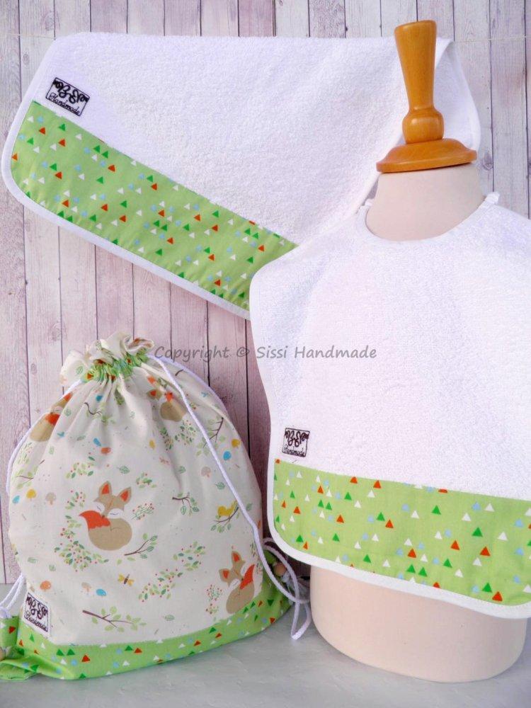 SET ASILO SCUOLA bambino, 3 pezzi: bavaglio, sacca e asciugamano  (s. Lively - bosco verde)