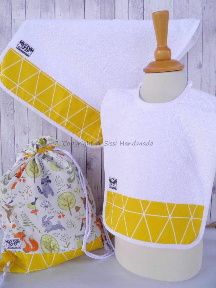 SET ASILO SCUOLA bambino, 3 pezzi: bavaglio, sacca e asciugamano (s. Lively - bosco giallo)
