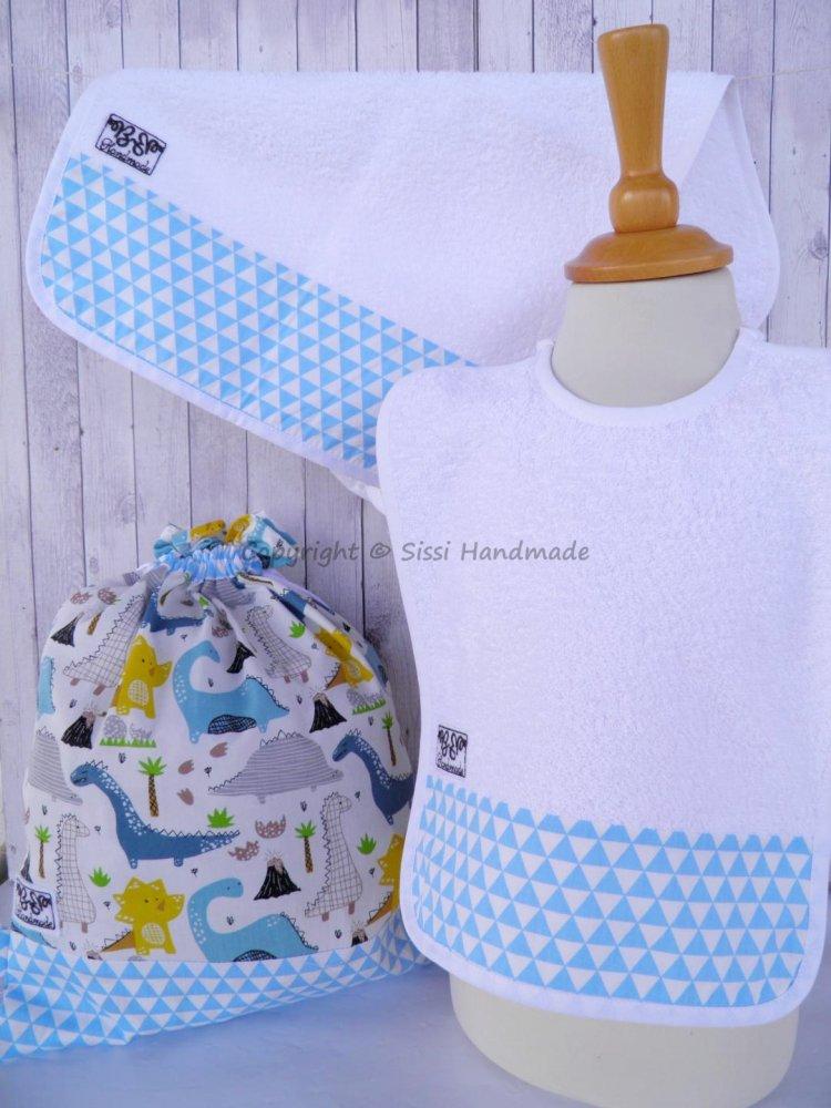 SET ASILO SCUOLA bambino, 3 pezzi: bavaglio, sacca e asciugamano (s. Lively  - dinosauri)