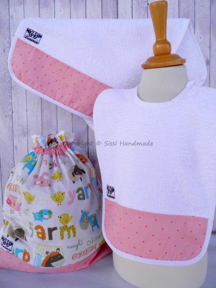 SET ASILO SCUOLA bambina, 3 pezzi: bavaglio, sacca e asciugamano (s. Lively - fattoria)