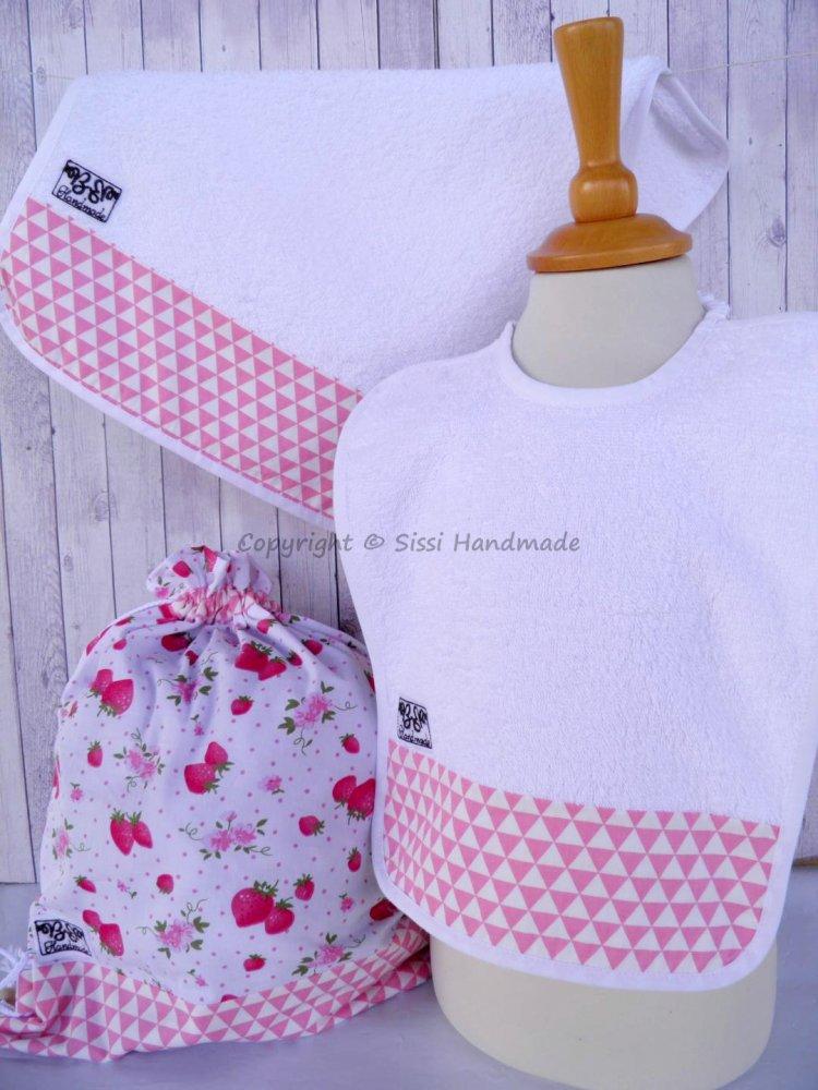SET ASILO SCUOLA bambina, 3 pezzi: bavaglio, sacca e asciugamano  (s. Lively - fragoline)