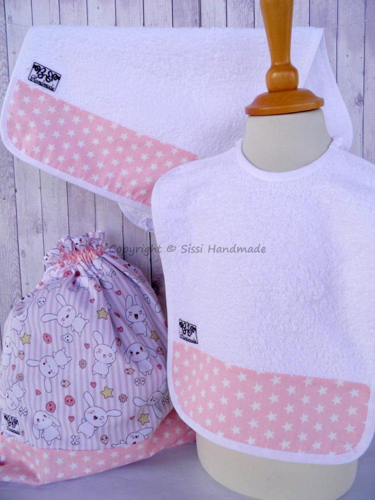 SET ASILO SCUOLA bambina, 3 pezzi: bavaglio, sacca e asciugamano  (s. Lively - coniglietti)