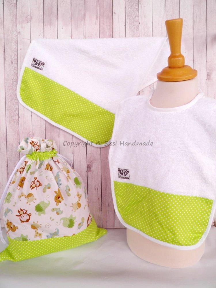 SET ASILO SCUOLA bambino, 3 pezzi: bavaglio, sacca e asciugamano (s. Lively - giungla verde)